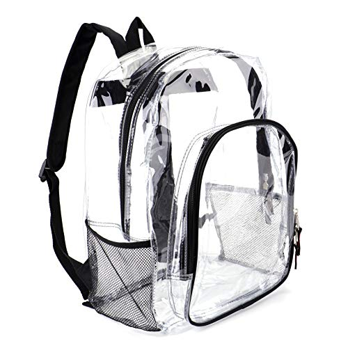 Heavy Duty Transparent Clear Backpack See Through Backpacks for School,Sports,Work,Stadium,Security Travel,College -
