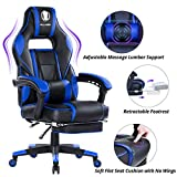 KILLABEE Massage Gaming Chair High Back PU Leather PC Racing Computer Desk Office Swivel Recliner with Retractable Footrest and Adjustable Lumbar Support, Blue/Black