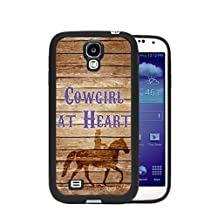Brown Wood Cowgirl at Heart Cowgirl on Horse Samsung GALAXY S4 Rubber TPU Silicone Phone Case