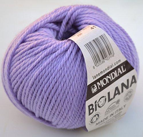 50 Gramm Lane Mondial BIO Wolle, Kol 155 – Lila, Bio-Wolle, stricken, häkeln