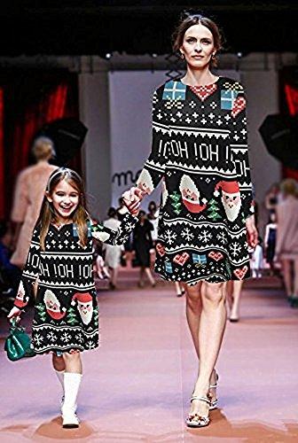 Tipo Calabaza Navidad Niñas Impresión Line Mujer Vestido Camiseta A de Largas Swing Mangas para Ropa Minetom Nieve A Dress qW7BxTwgf