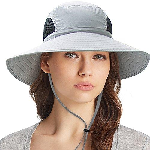 (Waterproof Sun Hat Outdoor UV Protection Bucket Mesh Boonie Hat Adjustable Fishing Cap)
