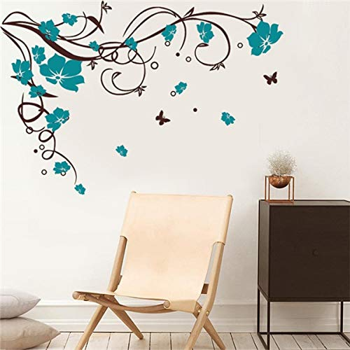 Living Room Decoration - 110X80cm Large Butterfly Vine Flower Vinyl Removable Wall Stickers Tree Wall Art Decals Mural for Living Room Bedroom Home Decor