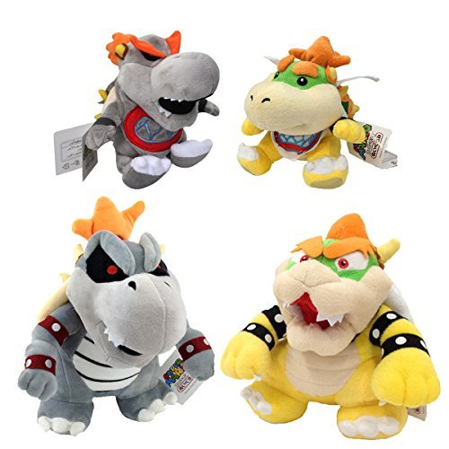 One Set of 4 Super Mario Bros Plush Toys King Dry Bowser Bones Skeletal Koopa Boss Baby Bowser Jr. Baby Dry Bowser Soft Figure 7'' 9'' with a Free Badge As Gift by Generic
