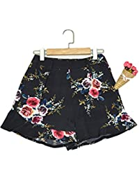 Womens Summer Tribal Floral Print Tie Waist Frill Hem Casual Beach Shorts