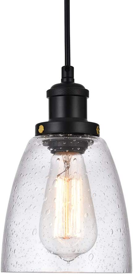 Cuaulans Retro Pendant Lighting, Small Hanging Light with Bubble Glass, Adjustable Kitchen Lamp for Hotels Hallway Shops Cafe Bar Flush Mount Ceiling Light Fixtures