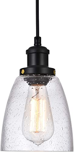Cuaulans 1 Pack Bubble Glass Shade Pendant Lights, Black Pendant Lighting Fixture for Kitchen Island Dining Room Coffee Bar