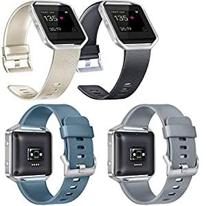 Vancle Bands Compatible with Fitbit Blaze, 4 Pack, Gold, Black, Slate, Gray, Small