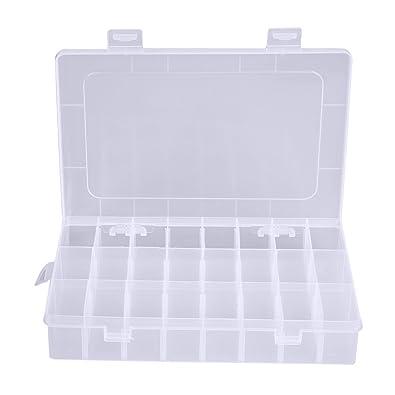 Demiawaking - Caja de plástico para almacenamiento con 24 compartimentos y tapa. Caja con divisores