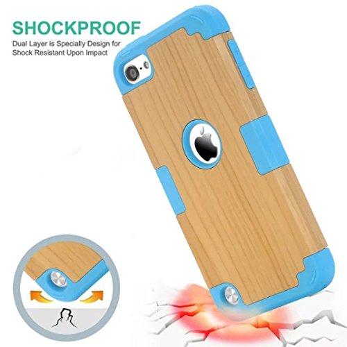 IPhone 5S / SE Case - Litastore Romper-Resistente Madera Teléfono Case Iphone 5S / SE PC+TPU tres-en-uno Paquete Resistente a Prueba de Choques Cubre Caja de Madera - Cielo azul Cielo Azul