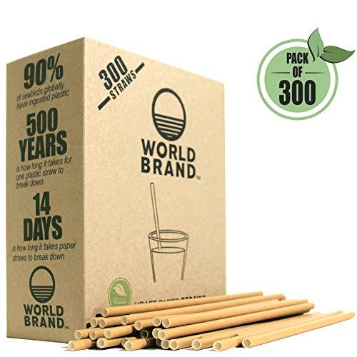 World Brand 300 Dye-Free Biodegradable PREMIUM Paper Straws, Made from Kraft ()