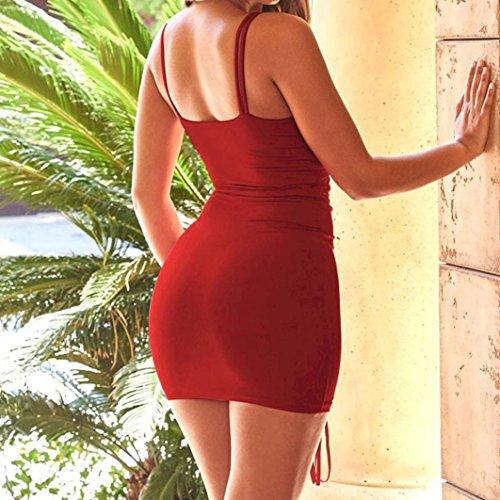 Mini Womens CamisoleCondole Dresses Red Belt Fashion KIMODO Wine Dress Sleeveless 6dqt6
