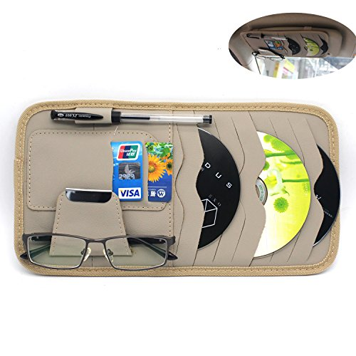 MOTONG Sun Visor Organizer CD Sotre Case Credit Card Holder For Auto Vehicle Truck 8pcs(Leather Beige)