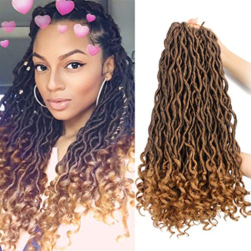 Goddess Faux Locs Crochet Hair Braids Synthetic Braiding Hair Deep Wave Curly Ends Loc Hair Extension Ombre New Style Fashion and Bouncy African Wavy Dreadlocks Hairstyles(6Packs,T1B/27#) (Cute Updo Hairstyles For Short Curly Hair)