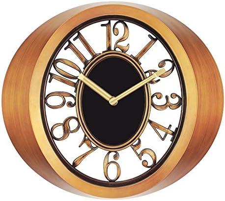 Vinteen Reloj de Pared Marrón Dorado Continental Americano Rural Nostalgia Dormitorio Reloj Colgante de Pared Creatividad Espacio Desnudo Salón de la Antigüedad Arte de la Personalidad Reloj de Viento