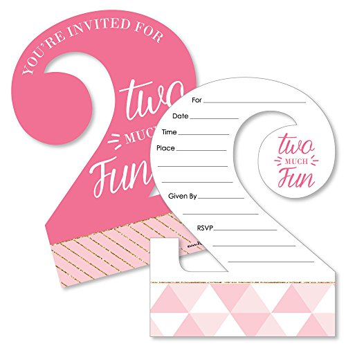 Big Dot of Happiness 2nd Birthday Girl - Too Much Fun - Shaped Fill-In Invitations - Second Birthday Party Invitation Cards with Envelopes - Set of 12 by Big Dot of Happiness