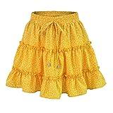2019 Fashion Women Summer Casual High Waist Ruffled Floral Print Beach Short Skirt (Yellow, 2XL)