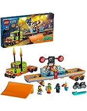 LEGO 60294 City Stuntz Stuntshowtruck & Motor met Vliegwielaandrijving met Dunktank Bouwset met Racer en Clown Minifiguren, Kinderspeelgoed vanaf 6