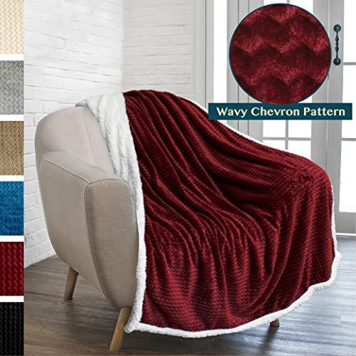PAVILIA Premium Chevron Sherpa Throw Blanket | Soft Reversible Wine Maroon Burgundy Fleece Blanket Throw | Plush, Fuzzy Throw for Couch Sofa, Lap TV Blanket| Lightweight Microfiber, 50x60 Inches