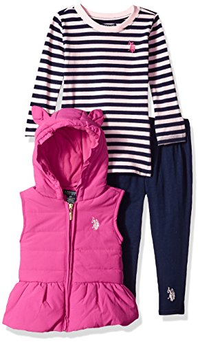 Polo Knit Pant Set (U.S. Polo Assn. Toddler Girls' Knit Top, Vest and Legging Set, Very Berry, 2T)