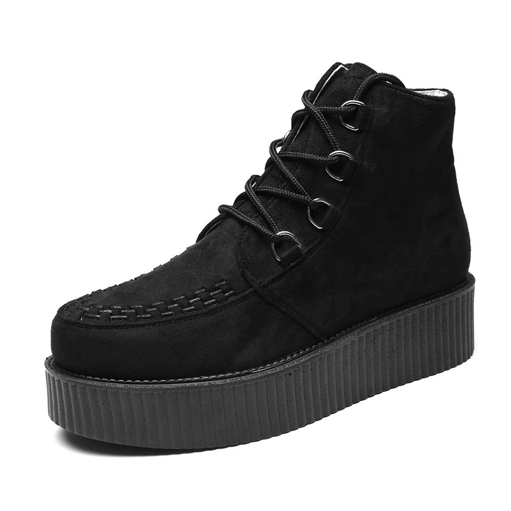 RoseG Mens Suede Lace Up Goth Punk Creepers Platform High Top Boots Size6 Black