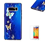 Funyye Relief Rubber Case for Samsung Galaxy Note 8,Stylish Blue Gold Butterflies Pattern Soft Silicone TPU Gel Cover for Samsung Galaxy Note 8,Slim Fit Shockproof Non Slip Back Cover Smart Shell Protective Case for Samsung Galaxy Note 8 + 1 x Free Screen Protector