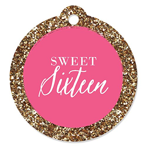 Chic 16th Birthday - Pink and Gold - Birthday Party Favor Gift Tags (Set of 20)