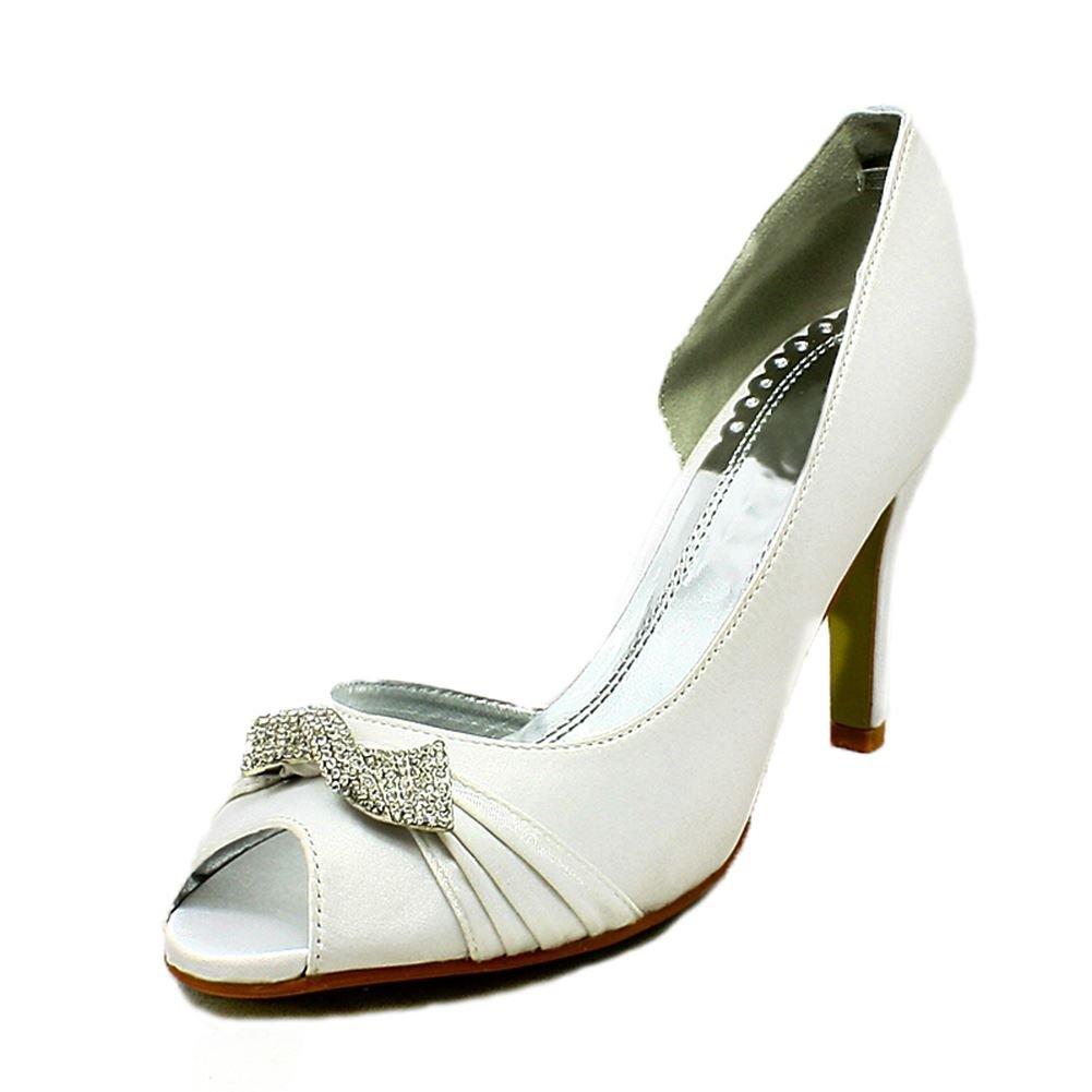 Burgundy satin Open side swirled diamante brooch wedding shoes xEFNF