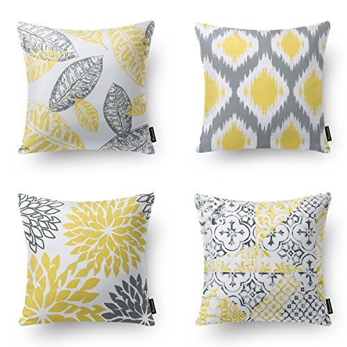 "Phantoscope Set of 4 New Living Series Yellow and Grey Decorative Throw Pillow Case Cushion Cover 18"" x 18"" 45cm x 45cm"