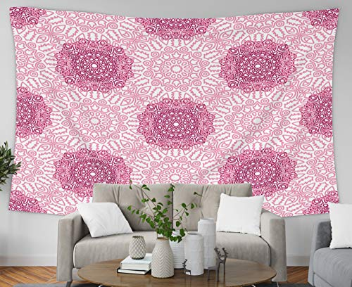 GROOTEY Tapestry Wall Hanging, Tapestry 60x50Inches Pattern Made of Ethnic s Lacy Grid for Rapport Print Textile Damask Ornament Wallpaper Tapestries Wall Art for Home Bedroom Dorm Decoration