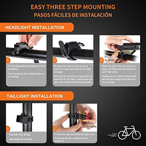 Luci Bicicletta LED Luci Bici Ricaricabili USB Impermeabili 4 Modalità di Luminosità Luce Bici Anteriore 400LM e Luce Posteriore 180LM, Ricarica Rapida Set Fanale Anteriore e Posteriore per Bicicletta