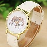 Tenworld Women Lady Girl Gift Analog Quartz Faux Leather Wrist Watch (Elephant)