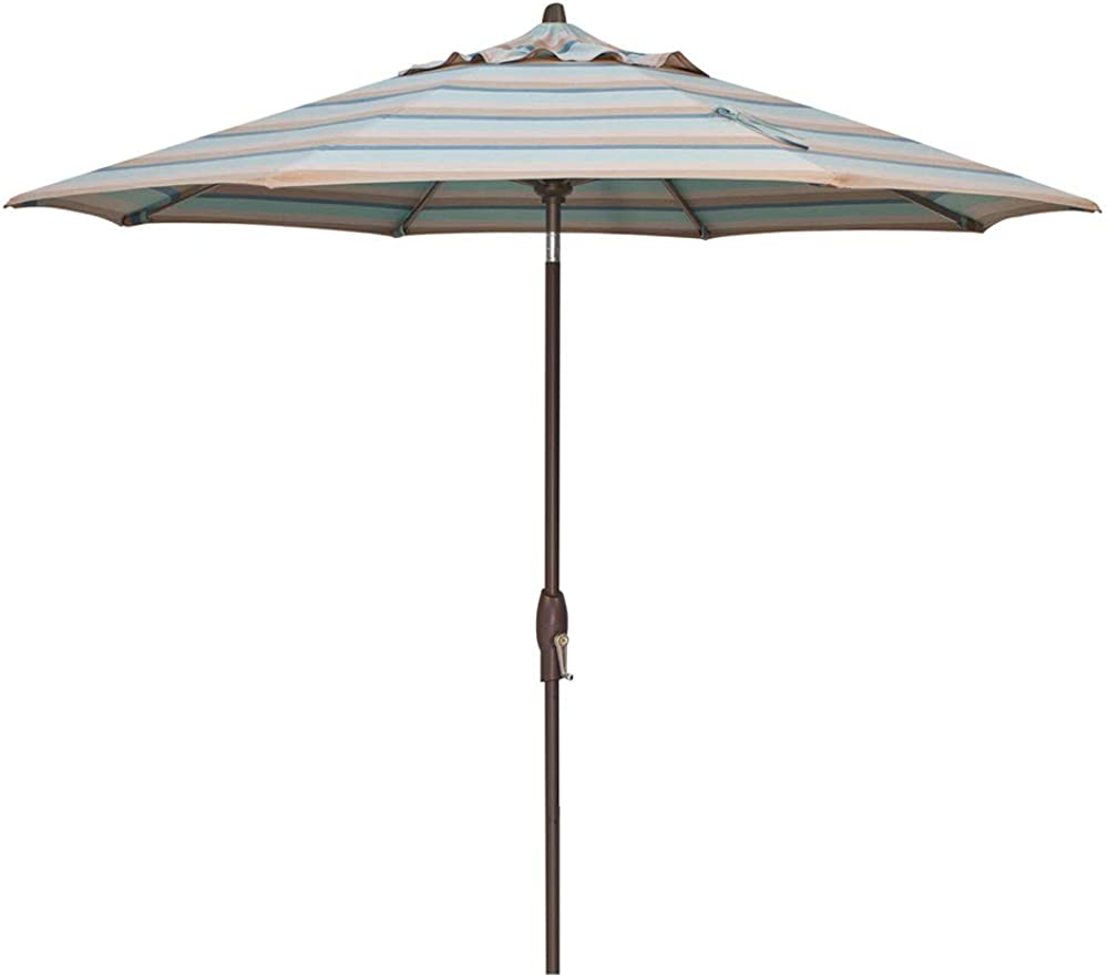 Treasure Garden 9-Foot (Model 810) Deluxe Auto-Tilt Market Umbrella with Bronze Frame and Sunbrella Fabric: Gateway Mist Stripe (Includes 3 Year Extended Frame Warrantee)