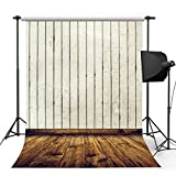 Kooer 5x7ft Ivory White Wall Photography Backdrops Old Wood Floor Photography Backgrounds Photo Studio Prop Baby Children Family Photoshoot Backdrop Customized Various Size