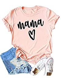 SUPEYA Women Mother's Day Shirt Mama Heart Print Tee O-Neck Short Sleeve Tops