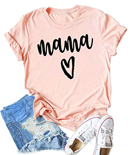 (Mama Heart Print Shirt Top Women Mother's Day Shirt Tee Short Sleeve Casual Letter Graphic Tee T Shirt Size X-Large)