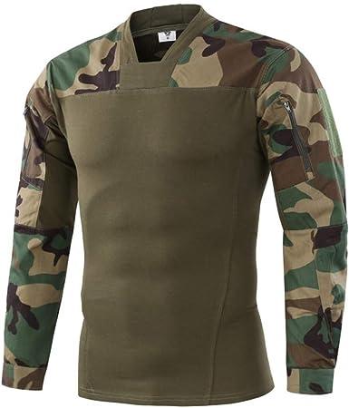Specter Hombres Militar Táctico Camisa Airsoft Largo Manga Camuflaje Combate Camisetas con Bolsillo Cremallera: Amazon.es: Deportes y aire libre