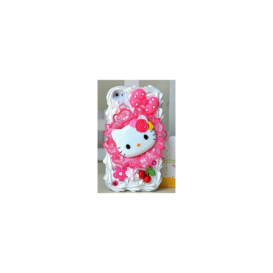Nice Cherry Lace Pattern Hello Kitty 3D Cake Style/Ice cream Cake Style iPhone 4G Hard Case/Cover/Protector