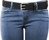 EURO Womens Thick Wide 2 Hole Leather Belt - BN9041 - Black 5XL