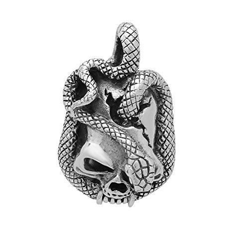 (Highly Polished .925 Sterling Silver 24mm Scaled Snake & Skull Pendant)