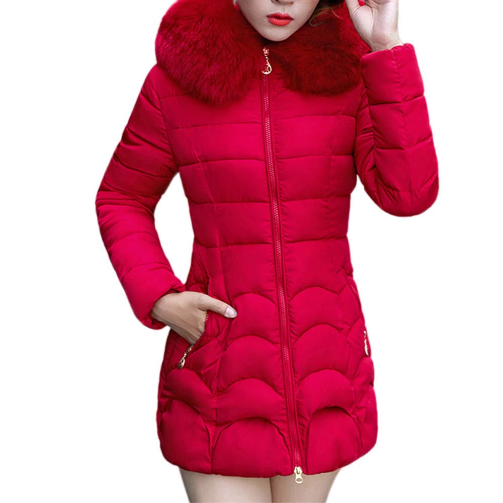 Rovinci_Women's Faux Fur Hooded Down Coat Zip up Padded Parka Long Overcoat Slim Warm Thicken Winter Jacket Outerwear