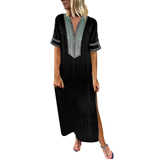 d18c575d28995 Amazon.com  kaifongfu Women s Printed Long Sleeve V-Neck Maxi Dress Hem  Baggy Kaftan Long Dress  Clothing