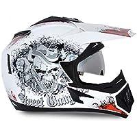 Vega Off Road Gangster HE1277 Helmet with Double Visor (White and Orange, M)