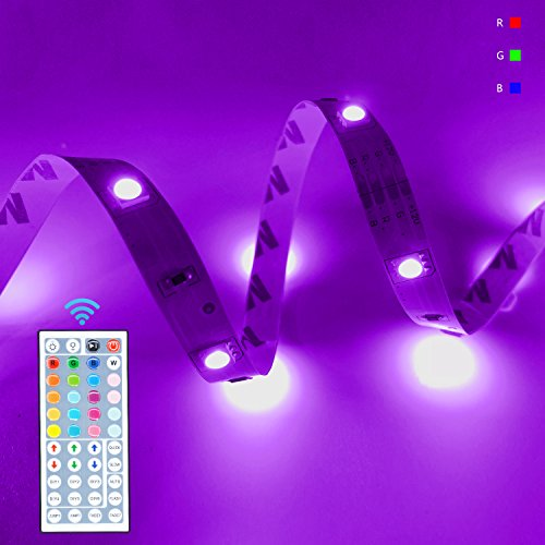 LED Flexible Strip Light Kit RGB Dimmable Rope Lighting 32.8Ft 300LEDs SMD5050 DC12V with 44Key IR Remote Controller for Closet Kitchen Desk Mirror Club Shoplight DIY Backlight Game Room Home (360 Home Theater)
