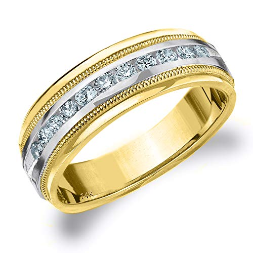 .50CT Heritage Men's Diamond Ring in 14K Two Tone Gold, 1/2 cttw Wedding Anniversary Ring for Men - Finger Size 11.5 (Ring Two Tiffany Tone)