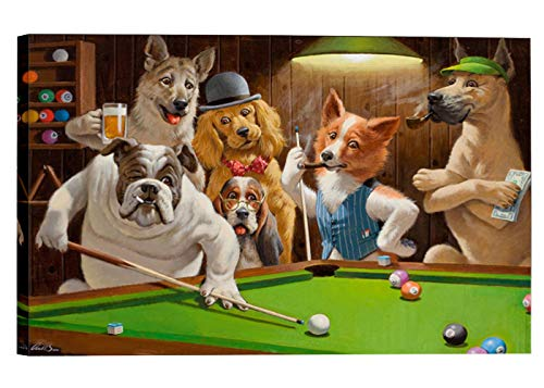 LanimioLOX Dogs Playing Pool Billiard Artisan by Cassius Marcellus Coolidge Oil Painting Reproduction Giclee Wall Art Canvas - Pool Playing Coolidge Dogs