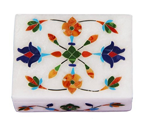 Gorgeous Hand Carved Marble Jewelry Trinket Box (4 X 3 Inches) with Floral Inlay