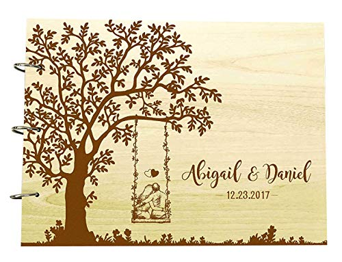 Book Guest Engraved (Personalized Wedding Tree Guest Book Wood Engraved Custom Bride And Groom Name Scrapbook Gift)