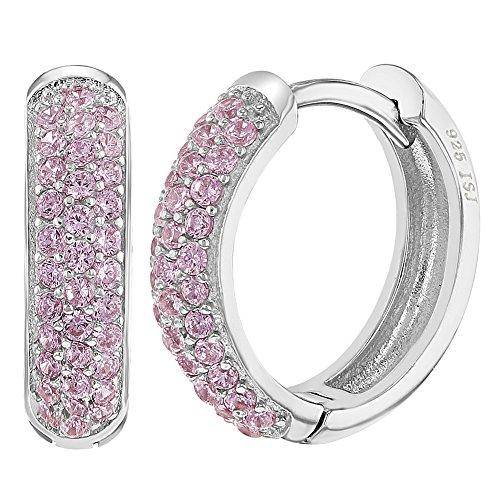 925 Sterling Silver Micro Pave Pink CZ Huggie Hoop Women Earrings 0.55