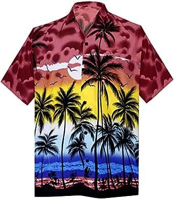 "LA LEELA Likre Men's Hawaiian Shirt Bright Red 325 X-Small | Chest 36"" - 38"""